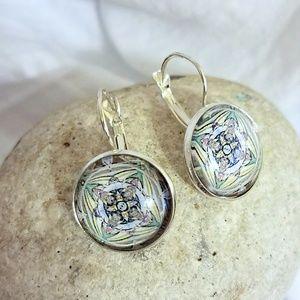 Allergy-Safe Mandala Cross Earrings